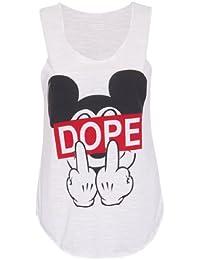 Damen Dope Slogan Mickey Mouse Finger Bedruckt Stretch Fit Damen Rund U-ausschnitt ärmelloses T-Shirt ärmelloses Top