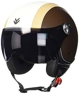 """Armor · AV-84 """"Vintage Creme"""" (yellow) · Casque Moto Jet · Retro Scooter Demi Jet Cruiser Helmet Chopper · ECE certifié · Visor · Click-n-Secure™ Clip · Sac fourre-tout · S (55-56cm)"""