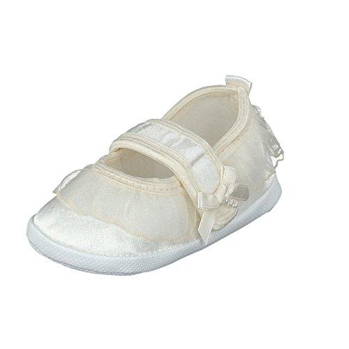 Taufschuhe Babyschuhe Lauflernschuhe Kinderschuhe Krabbelschuhe, Festliche Baby Schuhe, Satin, Ecri, 17 EU Herstellergröße 10