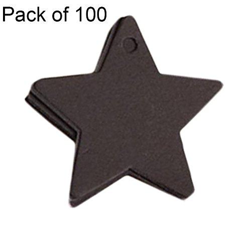 Etiketten Pflanze Leer (Cdet 100 Stück Tag Karte Pentagonal Stern Kraftpapier leer Tag / Lesezeichen / Geschenkkarte / Schokolade Verpackungskarte / Drift Flaschenkarte Papieranhänger (Schwarz))
