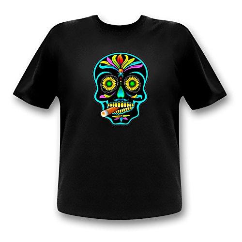 Totenkopf Equalizer T-Shirt/mexikanischer Totenkopf/Sugar Skull/LED Shirt/Leucht Tshirt (XL)