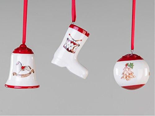 Christbaumschmuck 3 Stück Glocke Stiefel Kugel Baumbehang Weihnachts Deko Hänger -