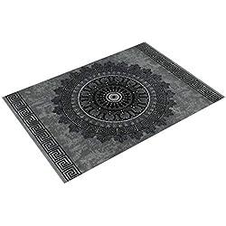 Alfombra Diseño Salón Estampado Mandala Pelo Corto Estilo Barroco Gris Y Negro, tamaño:160x230 cm