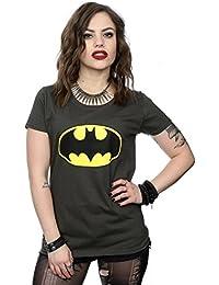 DC Comics Women's Batman Logo T-Shirt Large Light Graphite