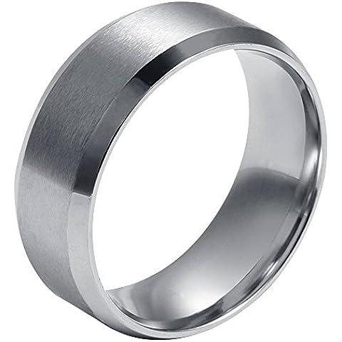 Contever® Anillo de hombre y mujer acero de Titanio Acero Pulido Ring Venda (Diámetro: 17.4 MM)