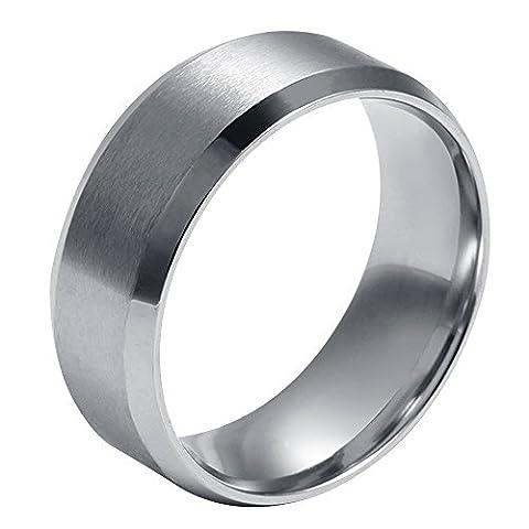 Contever® Seigneur des Anneaux - Bague Homme - Titanium Acier - Silver(Diamètre intérieur: 21.5 MM)
