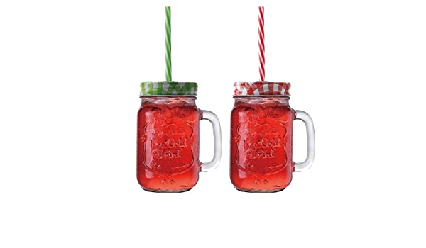 Buy Feliz 450 Ml Set Of 2 Large Mason Jars With Straw Random Colours For Return Gift Anniversary Gift Birthday Gift For Drinking Coffee Mocktails Shakes Juice Online At Low Prices In India