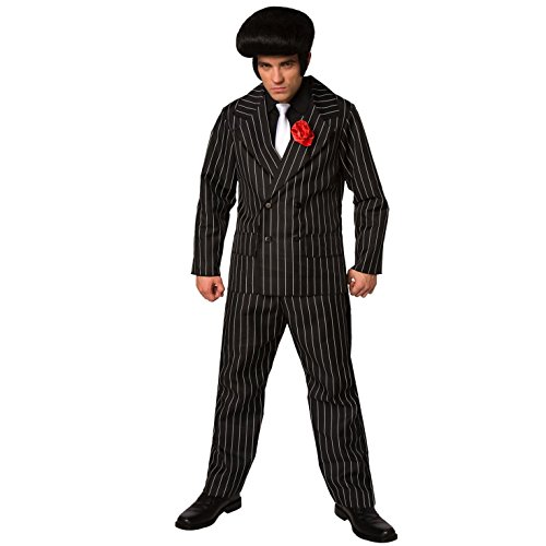 Herren Gangster Kostüm Mafia Nadelstreifen Anzug für Männer Qualität Kriminell verrücktes Kleid - Groß (42-44 Zoll / 107-112 cm ()