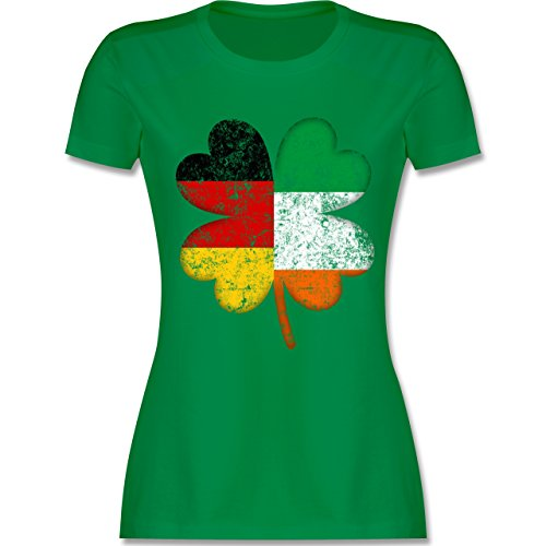 St. Patricks Day - Deutschland Irland Kleeblatt - XL - Grün - L191 - Damen T-Shirt Rundhals (Grün St Patricks Shirt Day)