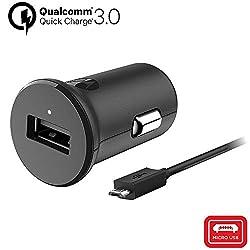 motorola Original TurboPower 18W QC3.0 Autoladegerät mit abnehmbarem 1m (3. 3ft) USB-A auf USB-Micro Kabel im Verkaufsfach Authentication Label und Bedienungsanleitung
