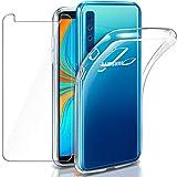 """Coque Galaxy A9 2018 Transparente + Verre trempé écran Protecteur, Leathlux Souple Silicone Étui Protection Bumper Housse Clair Doux TPU Gel Case Cover Samsung Galaxy A9 (2018) 6.3"""""""