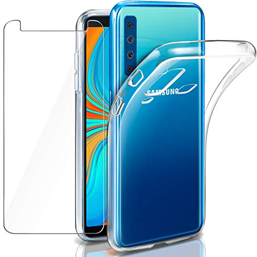 Leathlux Hülle für Samsung Galaxy A9 (2018) + Panzerglas, Galaxy A9 2018 Durchsichtig Case Transparent Silikon TPU Schutzhülle Premium 9H Gehärtetes Glas für Galaxy A9 (2018) / A9 Star Pro / A9s