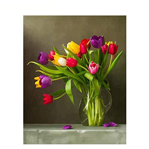 Lliuuroc Diy Digitale Tela Pittura Ad Olio Regalo Per Adulti E Bambini Vernice Di Numero Kit Home Decorazioni- Composizione Floreale Multicolor Dipinta 16X20 Po