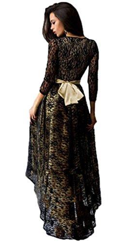 Bigood Femme Robe Dentelle Cocktail Moulante Floral Manches Longue Uni Noir