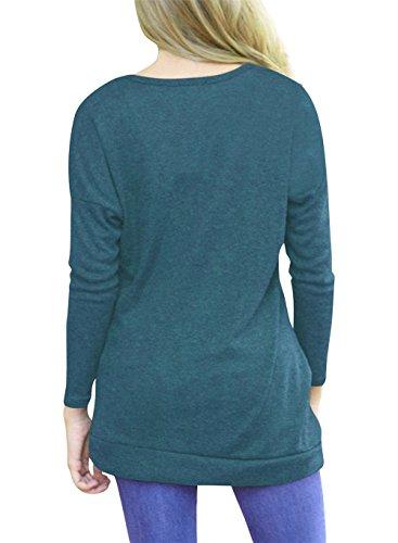 Femme Automne T-shirt a Manche Longue Blouse Col Rond Lache Tunique Top Haut Blouse Avec Boutons Sport Basique Sweat-shirt Pull Chemise Slim Fit - BienBien Bleu