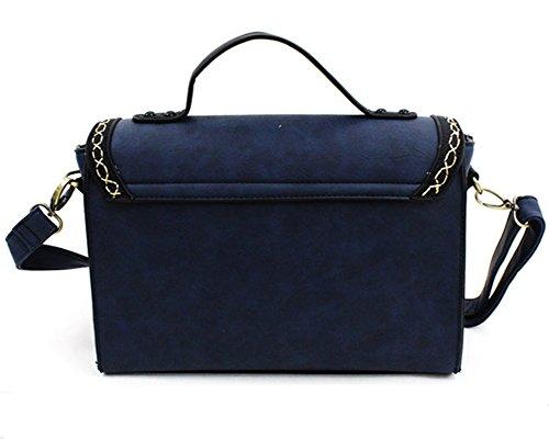 Whoinshop Damen Vintage Arbeitstasche Handtasche Schultertaschen Umhängetasche Blau