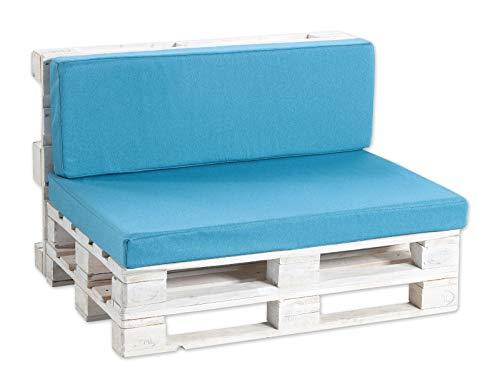 Coussins pour palettes, siège, Appui, Mousse, Lisse PF (Siège 120x80 + Appui 120x40, Bleu)