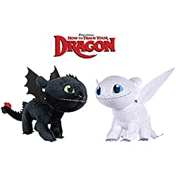 "HTTYD Dragons, como Entrenar a tu dragón - Pack 2 Peluches Furia Luminosa (Light Fury) + Desdentao (Toothless) - Calidad Super Soft 11'80""/30cm (40cm Cola incluida)"