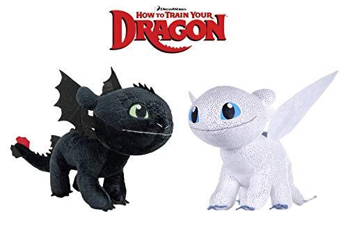 HTTYD Dragons Pack 2 peluches Drago Furia Buia Bianca + Sdentato Toothless Nero - qualità Super Soft 11'80'/30cm (Coda di 40 cm Inclusa)