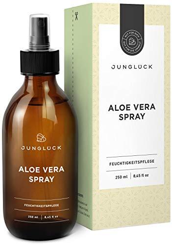 Junglück Aloe Vera Spray aus 92,3% bio Aloe Vera | 250 ml in Braunglas | Feuchtigkeitspflege für gesunde & schöne Haut | Wir stehen für natürliche & nachhaltige Kosmetik made in Germany -