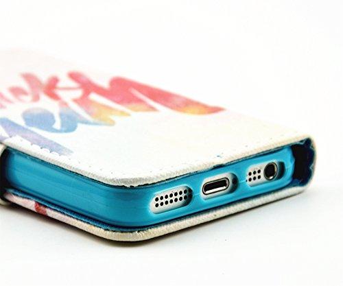 Coque pour iPhone 5 5S, Etui pour iPhone 5 5S, ISAKEN Peinture Style PU Cuir Flip Magnétique Portefeuille Etui Housse de Protection Coque Étui Case Cover avec Stand Support et Carte de Crédit Slot pou Texte Couleurs