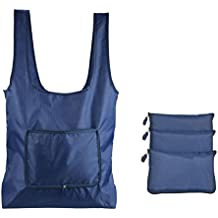 HOPESHINE 3 Stück Eco Wiederverwendbar Einkaufstasche Groß Faltbar Leichte Einkaufstaschen Polyester (Navy blau 3-Stück)