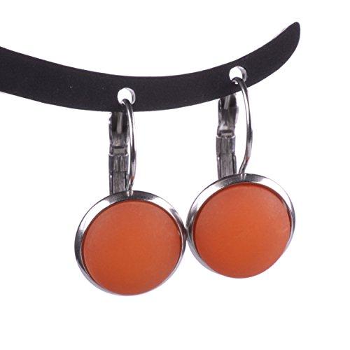 """Polarisohrring\""""Katharina\"""", 12mm original Polariscabochon in vielen attraktiven Farben in einer Klappbrisur aus Edelstahl, handgefertigt von Adi-Modeschmuck in Berlin (orange)"""