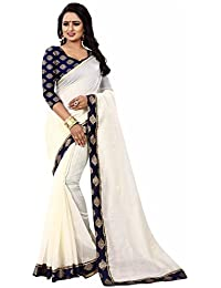 Sarees For Women Sarees New Collection Sarees For Women Latest Design Women's White Chanderi Cotton Saree With...
