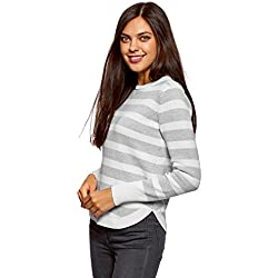 oodji Ultra Mujer Jersey a Rayas con Cremallera en el Hombro, Blanco, ES 44 / XL