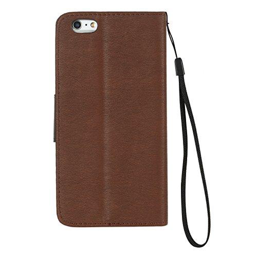 iPhone 6S Coque, Voguecase Étui en cuir synthétique chic avec fonction support pratique pour Apple iPhone 6/6S 4.7 (Rouge/Noir)de Gratuit stylet l'écran aléatoire universelle Brown/Noir