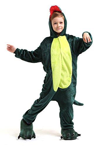 Dinosaurier Drachen Ganzkörper Tier-Kostüm für Kinder - Plüsch Einteiler Overall Jumpsuit Pyjama Schlafanzug - Grün - Größe 110-122 (Hersteller Gr. 105)