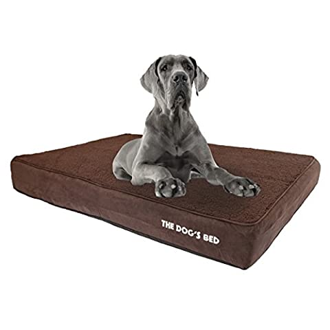 The Dog's Bed, Premium Plush Orthopedic Memory Foam Waterproof Dog Beds, 4 Sizes/6 Colors, Ease Pet Arthritis & Hip Dysplasia Pain, High Quality Therapeutic & Supportive Dog Bed, Washable Covers - XXL 137 x 91 x 15cm (Brown Faux Fur Top with Suede Sides)