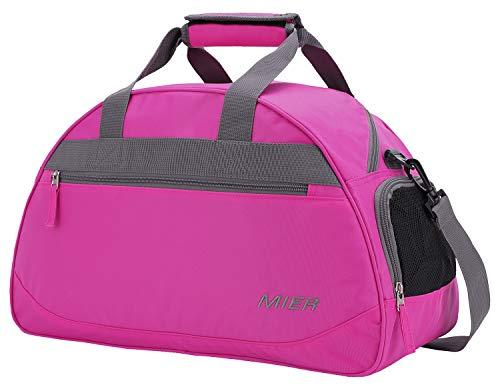 MIER Sporttasche Wochenende Reisetasche Seesack mit Schuhfach für Männer und Frauen, Pink