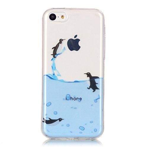 E-Lush Ananas Muster TPU Hülle für Apple iPhone 5C [Kratzfeste, Scratch-Resistant] Weiche Silikon Handyhülle Clear Transparent Tasche Ultra Dünne Schutzhülle Durchsichtig Rückschale Etui Bumper Case C Pinguin