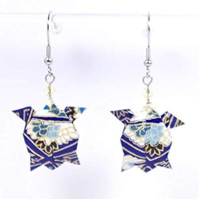 Boucles d'oreilles tortues de mer origami bleues - crochets inox