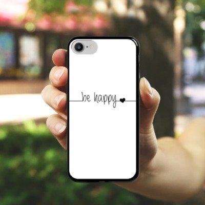 Apple iPhone X Silikon Hülle Case Schutzhülle Happy Glück Spruch Hard Case schwarz