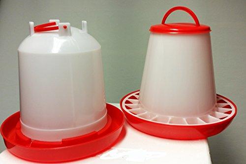 Futterspender für Geflügel 7 KG PLUS Stülptränke 7 Ltr. NEU: ANTIBAKTERIELL -