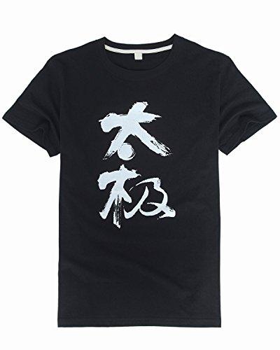 Icnbuys Herren Tai Chi T-Shirt mit chinesischen Schriftzeichen, Tai Chi XS, S, M, L, XL, XXL schwarz
