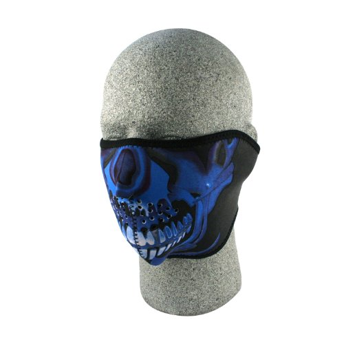 ZANheadgear neoprene Mezza Skull Face Mask (Blu Chrome)