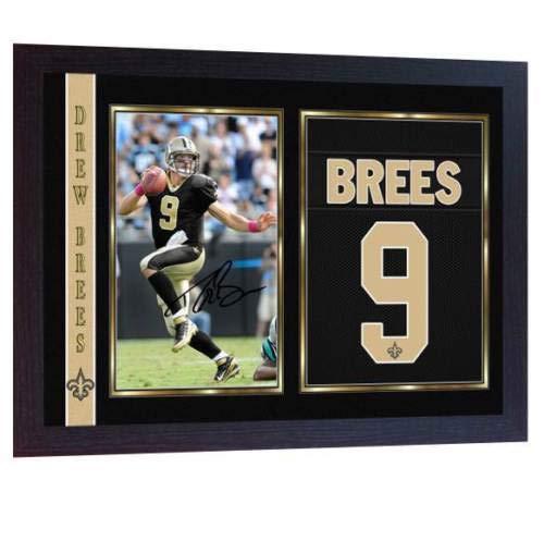 SGH SERVICES Gerahmter Fotodruck mit Autogramm von Drew Brees Orleans Saints NFL mit Autogramm, American Football NFL, gerahmter MDF-Rahmen