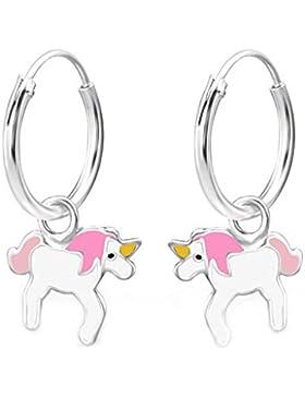 SL-Silver Ohrringe Kinderohrringe Creolen Einhorn 925 Silber in Geschenkbox