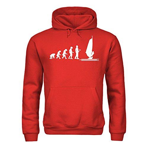MDMA Kapuzensweatshirt Evolutionstheorie Windsurfen mdma-h00376-82 Textil red / Motiv weiss Gr. M