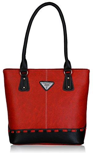 Fantosy Women's Handbag (Red and Black) (FNB-318)