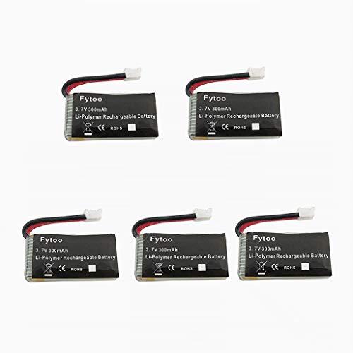 Fytoo 5PCS 3.7V 300mAh Lipo Batterie für JJRC H36 Eachine E010 GoolRC T36 NIHUI NH010 F36 RC Quadcopter Ersatzteile Drohne Batterie