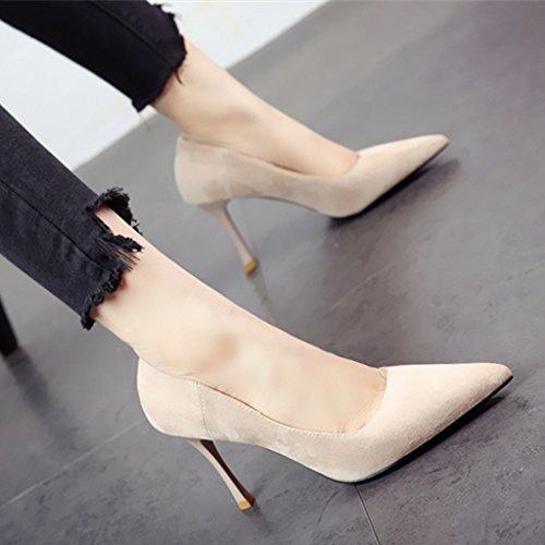 FLYRCX Frühling und Sommer einfache Art und Weise wies Thin heel High Heel Schuh Damen Pumps Schuhe, 34, d