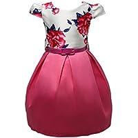 Moollyfox Stampa Senza Maniche Principessa Partito Ragazze Bambini Tutu Vestito + Cintura Rosa 140CM