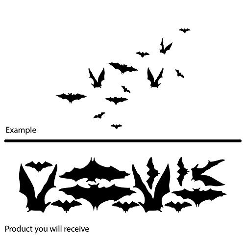 Scary fancy set of various bats fly halloween (16 cm x 60 cm) Colour Black Bathroom, Childs Bedroom, Children Room Stickers, Car vinyl, Windows and Wall Sticker, Wall Windows Art, (Namen Scary Halloween)
