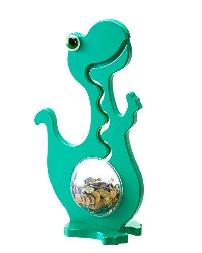 Big Belly Bank Dino Spardose in Grün Einfarbig, 50cm Gross mit Kugelbahn-Effekt