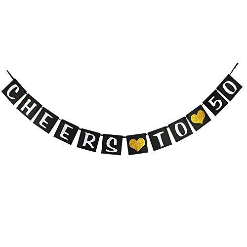 waway Cheers zu 50Geburtstag Banner Gold Glitzer Herz für 50. Jahrestag 50Jahre Alt Geburtstag Party Dekoration Supplies Schwarz (50)