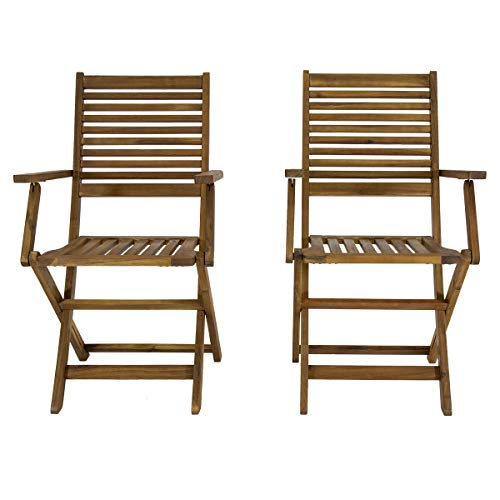 Charles Bentley FSC Acacia Wooden Pair of Foldable Outdoor Dining Armchairs - Slatted Design Oil Coated Natural